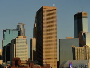 Moon over Minneapolis Skyline